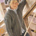 Стильный серый жакет и шапка на 10 лет