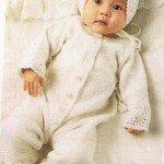 Белоснежное чудо- комбинезон и шапочка для новорожденного.