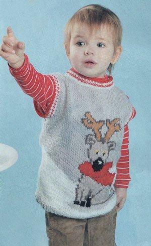 Детский вязаный жилет на 3-4 года.