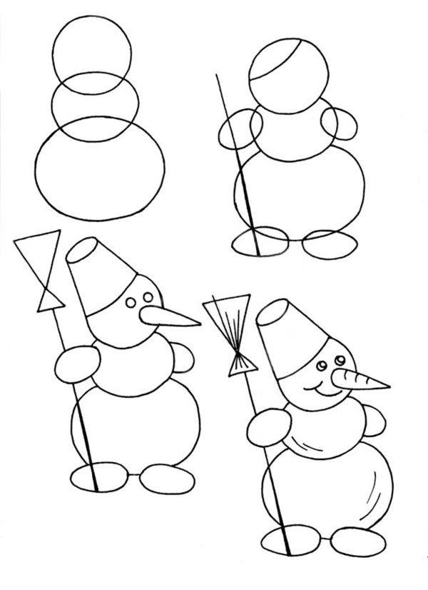 Рисуем снеговика.